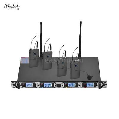 Professional Wireless UHF 4 Channel Microphone System for Teach 4 Lapel Mic H9H3