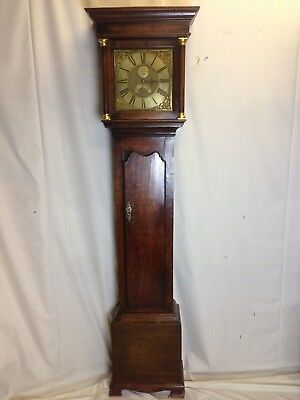 18th Century single finger Brass Faced Longcase Clock by Joseph Donisthorpe