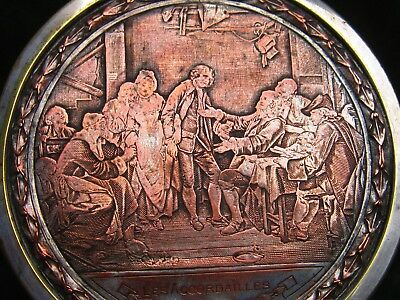 """french 19th century table snuff box """"Les Accordailles """" copper silver plate"""