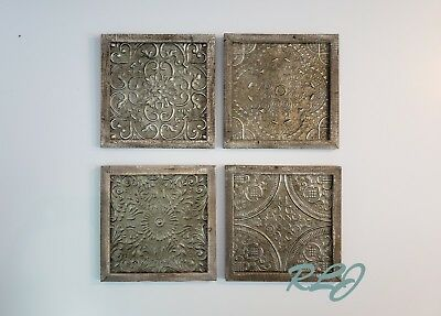 Distressed Rustic Set/4 Textured Iron Medallion Wood Wall Art Plaques Home Decor