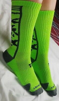Russell Boy Lime Green Black Graphic Athletic Compression Sport Tube Socks