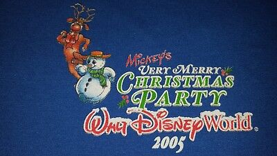 Mickeys Very Merry Christmas Party Blue Sweatshirt 2005 Size XL Disney World