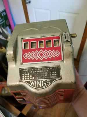 RARE Wings 1 Cent Trade Simulator Slot Machine Cigarettes Art Deco WORKING WITH