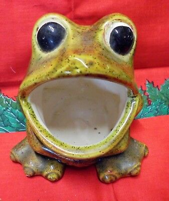 Vintage CERAMIC FROG Open Mouth Scrubby Scouring Pad Sponge Holder Green Brown