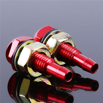 2Pcs Car Vehicle Front Windshield Washer Sprayer Nozzle Aluminum Alloy Red  L