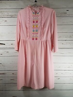 Vintage 60's Sears Perma-Prest Nightgown Robe Housecoat Zip Front Small/Medium