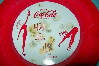 Vintage 1950s or 1960s Coca-Cola Metal Ashtray - Woman Exercising in Leotards