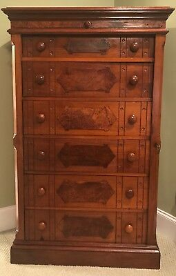 Victorian Burled Walnut Antique Dresser / Eastlake style  Side Lock Desk Key