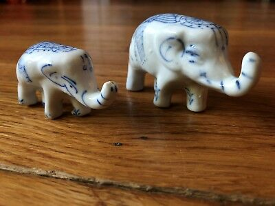 Two Small Gray U0026 Blue Porcelain Elephant Figurines Feng Shui Lucky  Collectibles