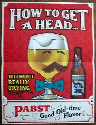 Pabst Blue Ribbon store window display poster choice mint unused 1960's