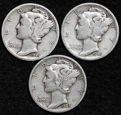 1945 P-D-S 3 Coin Mercury Dime Set / Circulated Grade Good / Very Good