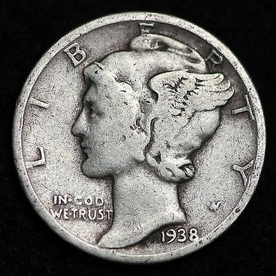 1938-P Mercury Dime / Circulated Grade Good / Very Good 90% Silver Coin
