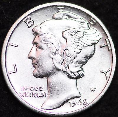 1942-D Au Mercury Dime / Denver Mint Almost Uncirculated 90% Silver Coin