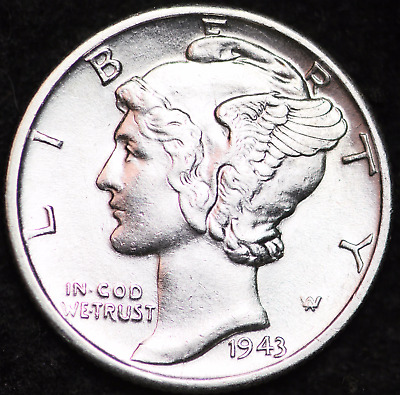 1943-D Au Mercury Dime / Denver Mint Almost Uncirculated 90% Silver Coin