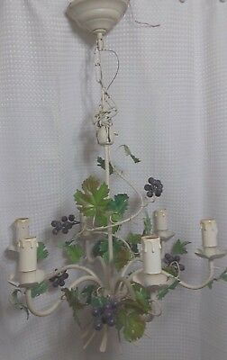 Vintage Italian Tole Chandelier Floral Lillies 6 Lights Mid Century  Italy
