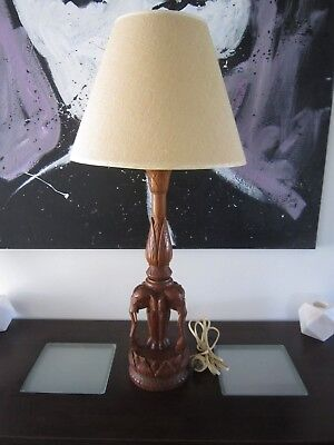 Stunning Unique Vintage Tall Hand Carved Teak Elephant Timber Lamp With Shade