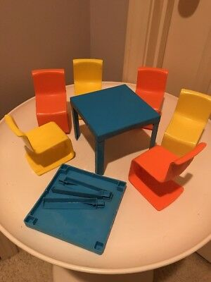 Vtg Barbie 70s Dining Table And 6 Chair Set + Extra