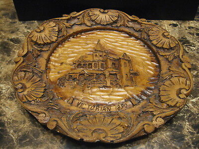 Antique Victorian Very Nice Wood Carved Plate