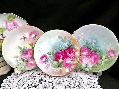 LIMOGES FRANCE set of 3  hand painted plates with cabbage rose roses design