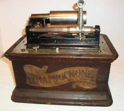 Gramophone Cylinder Phonograph, Paris Expo Decal 1900 For Parts, Restoration