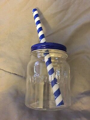Absolut Vodka Mason Jar Cup with Straw Plastic Brand New
