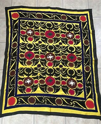 Antique Uzbek Vintage Hand Embroidered Original Wall Hanging Tablecloth Suzani