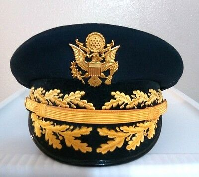 Authentic - US Army General Officer Dress Visor Hat Cap - Made by FLIGHT ACE