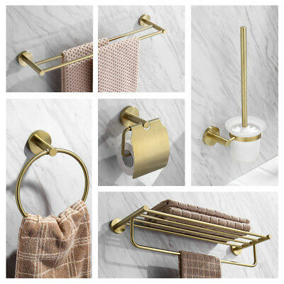 Bathroom Accessory Tissue Holder Towel Ring Bar Robe Hook, Brushed Gold Brass