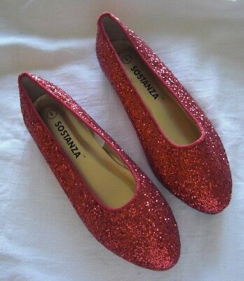Red Glitter Shoes Dorothy Wizard of Oz Sz 4 Girls Woman Flats EXCELLENT Sostanza