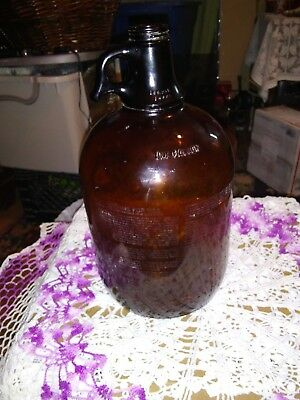 Glass Jug Bottle Amber Brown Glass 1 Gallon Large, Handle with advertisement