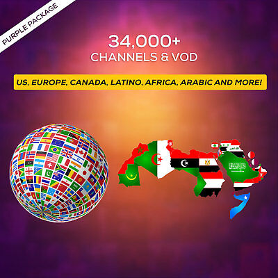 2 Years IPTV SUBSCRIPTION +34000 Ch&VOD US, CANADA, EUROPE, LATINO, AFRICA, AR