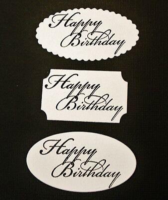 12 x White Happy Birthday Oval Labels Die Cuts Card Making Scrapbooking Toppers