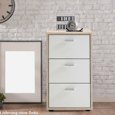 Design Night Cabinet Console Drawers White Bedroom Dresser oak Nb