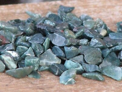 Green Bloodstone Crystal Chips, 100 grams - No holes