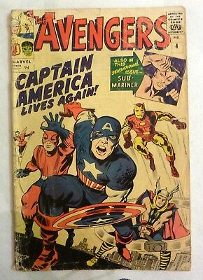 The Avengers 4 First Silver Age Captain America 1964 Key Issue!