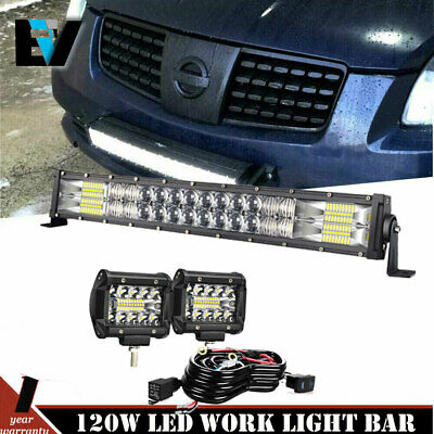 "24inch LED Light Bar Spot Flood Combo + 2x 4"" CREE Pods Fog SUV 4WD Jeep UTE 20"