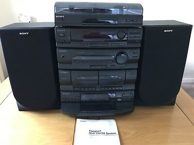 Black Sony Compact Hi-Fi System With Turntable, CD, And Cassette Players