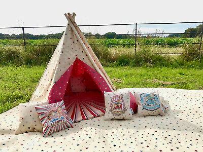 Vintage Carnival TEPEE childrens WIGWAM PLAY TENT WATERPROOF indoor outdoor Tipi