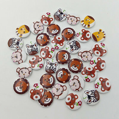 Cn _ Fm- 50pcs Diy Cartoon Décoratif Boutons en Bois Couture Scrapbooking