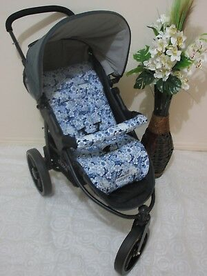 Handmade pram liner set-Blue floral-100% cotton*Funky babyz,SALE*