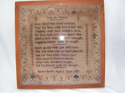 """Antique George Iv Embroidered Sampler By Sarah Smith 1829  """"loss In Delays"""""""
