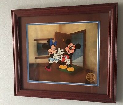 DISNEY'S MICKEY & MINNIE MOUSE FRAMED CEL SERIGRAPH Mickey's Surprise Party