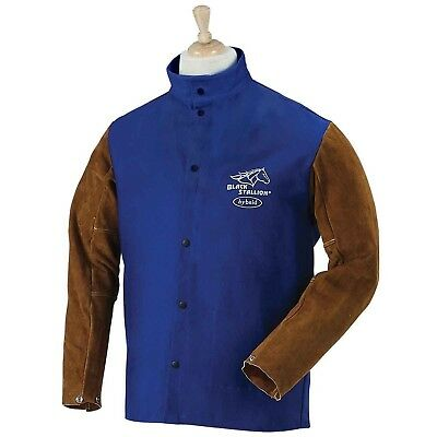 "BLACK STALLION Hybrid 9 oz. FR and Cowhide Welding Coat - 30"" Royal Blue/Brow..."