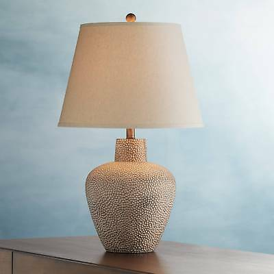 Rustic Table Lamp Hammered Metal Pot Brown Off White for Living Room Bedroom