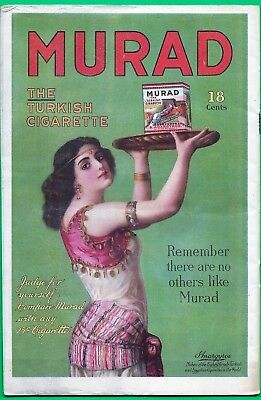 1918 Murad Cigarettes Ad~ The Turkish Cigarette ~ Chromolitho Print ~ W.w.i