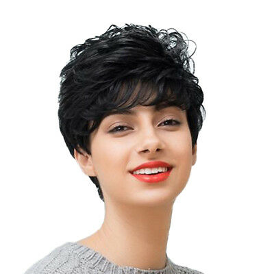 Short Curly Black Human Hair Wig Pixie Cut No Lace Wig for Women + Wig Cap