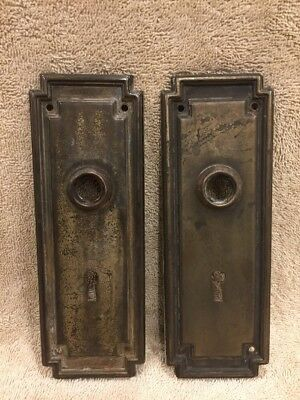 Antique Pr Stamped Steel Classic Door Knob Back Plates Escutcheons