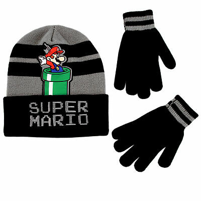 Nintendo Super Mario Hat and Gloves Cold Weather Set, Little Boys, Age 4-7