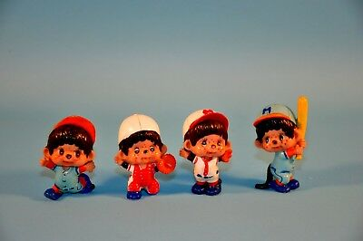 "Vintage 1979 Monchichi Monkey Japan Anime 2"" Baseball PVC Figures"