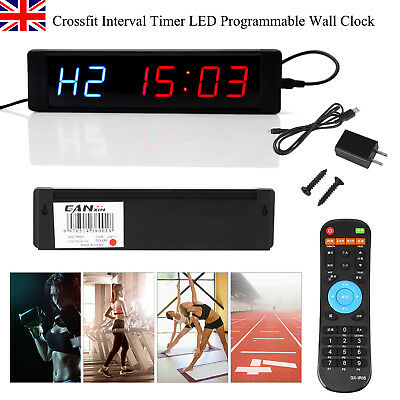 LED Display Programmable Interval Timer Wall Clock+Remote for Tabata Gym Fitness